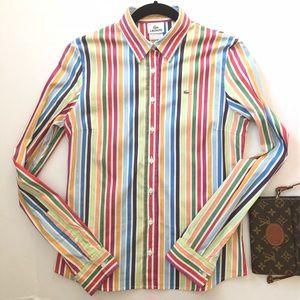 Lacoste White Green Blue Stripe Button Down Shirt